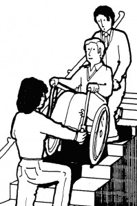 Black & white sketch showing how definitely NOT to assist the fire evacuation of a wheelchair user in an evacuation staircase.
