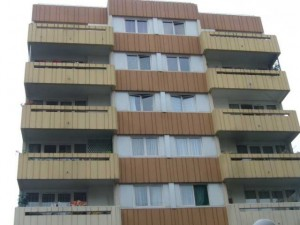 Colour photograph of a Multi-Storey Paris Apartment Block (1975-81).  Click to enlarge.