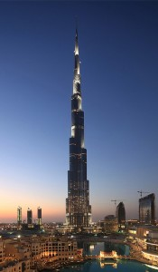 Colour photograph of the Burj Khalifa Tower in Dubayy, United Arab Emirates ... which was recently inaugurated on 4th January 2010. A romantic image, for now, of the World's Tallest Building. But ... how 'sustainable' ... and 'fire safe' ... is this building ?