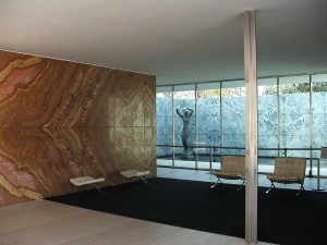 Colour photograph showing an Interior View of the Barcelona Pavilion, designed by the German Architect Ludwig Mies van der Rohe in 1929. Photograph taken by CJ Walsh. 2009-03-20. Click to enlarge.