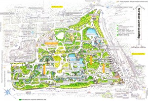 Colour image showing the plan of Kenroku-en Park in Kanazawa, Japan. Click to enlarge.
