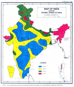 Colour image showing the Seismic Zones on a Map of India. Taken from Indian Standard IS 1893 (Part 1) : 2002. Click to enlarge.