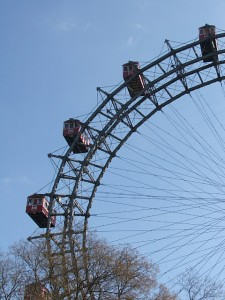 Colour photograph showing the Prater Giant Ferris Wheel in Vienna, Austria. Photograph taken by CJ Walsh. 2008-03-15. Click to enlarge.