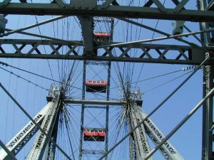 Colour photograph showing the Prater Giant Ferris Wheel in Vienna, Austria. Photograph taken by CJ Walsh. 2005-04-23. Click to enlarge.
