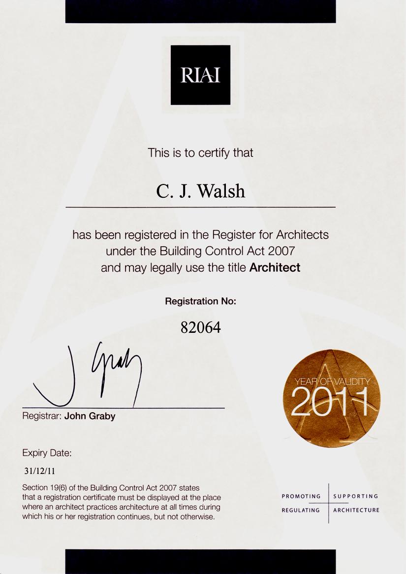 First Legal Registration Certificate As U0027Architectu0027