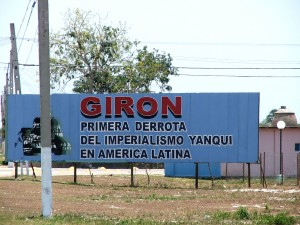 "Colour photograph showing a roadside hoarding near Playa Girón, in the Bay of Pigs (Bahia de Cochinos) area of Cuba. In Spanish ... telling it like it really was, and still is ... ""The First Defeat of Yankee Imperialism in Latin America"". Photograph by CJ Walsh. 2007-04-13. Click to enlarge."