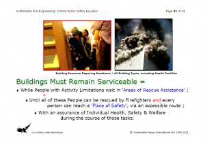Colour image showing Page 21 from my Overhead Presentation on 'Sustainable Fire Engineering' ... scheduled for this Thursday, 22 September 2011, at the ASFP Ireland Fire Seminar & Workshop ... to be held at the RDS, in Ballsbridge, Dublin. Click to enlarge.