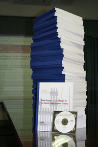 Colour photograph showing the enormous quantity of 9-11 WTC Incident Documentation, issued by the U.S. National Institute of Standards & Technology, which is still readily available for the public to access and download.