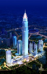 Colour image showing the Signature Tower Project, in Jakarta (Indonesia) ... which will be completed in 2016. Design by Smallwood Reynolds Stewart Stewart Architects & Planners, USA. Click to enlarge.