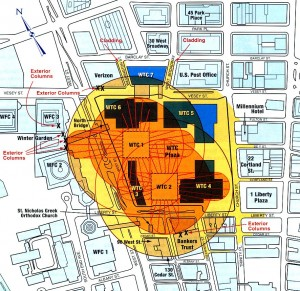 Colour plan showing the World Trade Center Complex in New York City, and its surrounding neighbourhood in Manhattan. By means of yellow shading and annotation in red text, the extent of direct damage caused by the collapse of the 2 WTC Towers on 11 September 2001 is shown. Not shown is the much greater extent of indirect damage caused, e.g. dust and debris from the collapses clogged up and destroyed air conditioning systems and ductwork in buildings. Everywhere south of Canal Street was a disaster zone. Also not shown is the damage caused by WTC 7, at the north-eastern tip of the Complex, which collapsed late on the afternoon of 9-11. Click to enlarge.