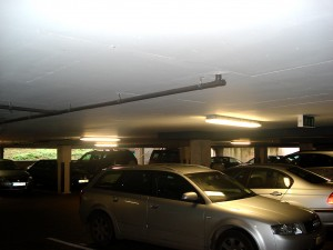 Colour photograph showing the basement car park in a hospital. Click this photograph, and the photographs below, to enlarge.