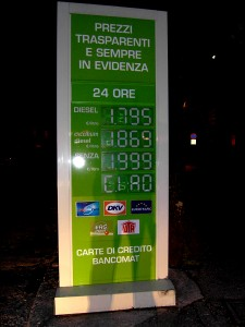 Colour photograph showing the prices of different grades of petrol and diesel at a Petrol Station in Amandola, Le Marche, Italy. Photograph taken by CJ Walsh. 2012-04-10. Click to enlarge.
