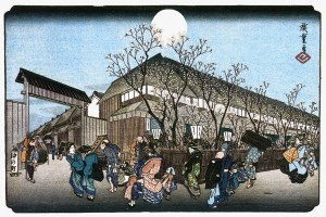 Colour image of a Japanese Print: 'Evening Cherry at Nakanocho in the Yoshiwara', dating from circa 1834-35, by the artist Hiroshige. Click to enlarge.