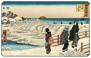 Colour image of a Japanese Print: 'Sunrise on New Year's Day at Susaki', dating from the mid-1830's, by the artist Hiroshige. Click to enlarge.