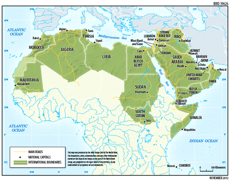 Middle east north africa mena arab region world bank 2012 colour image showing a map of the middle east north africa mena gumiabroncs Choice Image