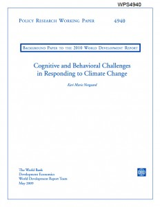 World Bank Paper 4940: 'Cognitive & Behavioural Challenges in Responding to Climate Change' (2009) - Title Page
