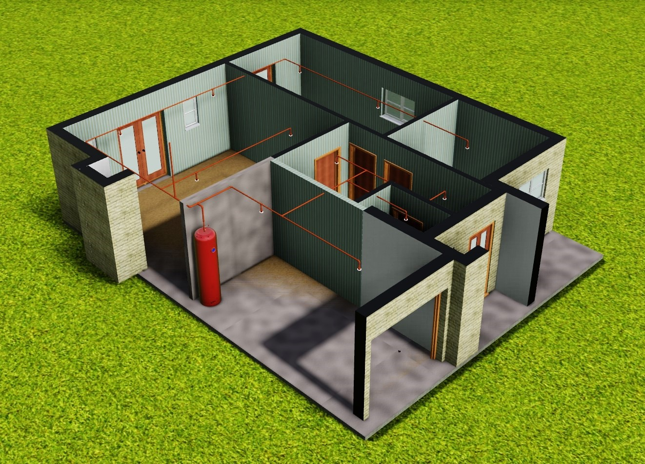 colour image showing the ground floor view of a notional 2 storey 4 bedroom detached - Cylinder Home Floor Plans
